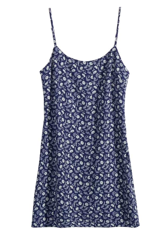 Slip Dress in Navy Floral