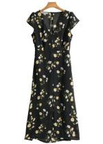 Open Back Dress in Black Floral