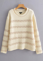 Lace Panel Detail Sweater in Beige