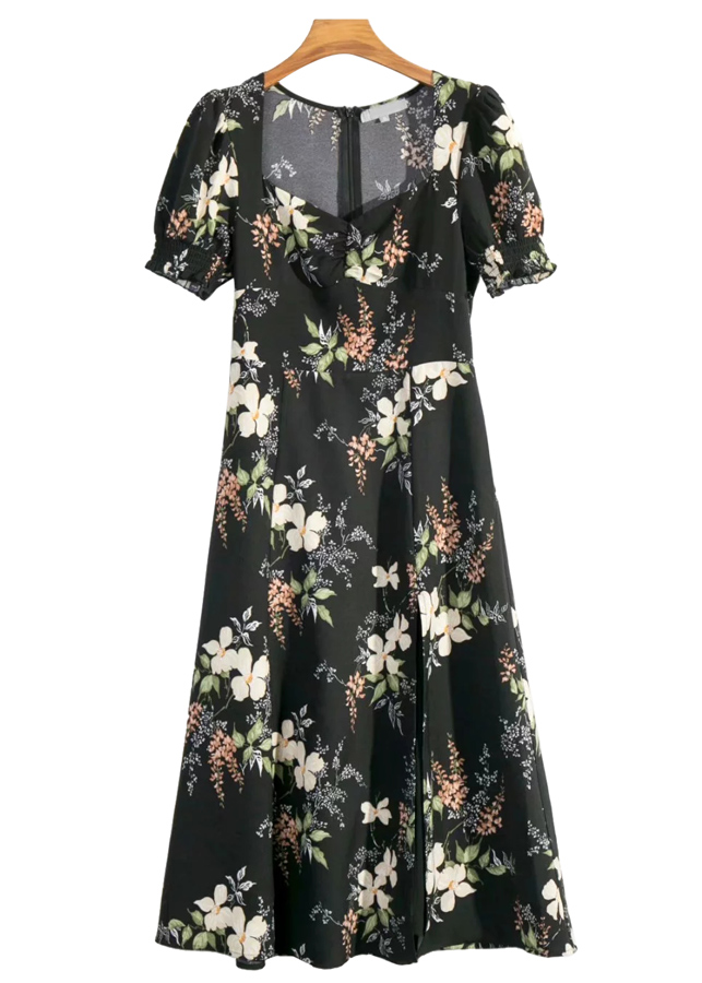 Maxi Dress in Black Floral