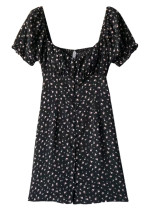 Button Front Dress in Black Floral