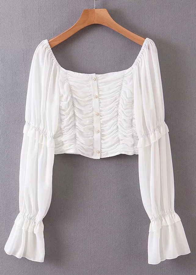 Bell Sleeve Crop Blouse in White