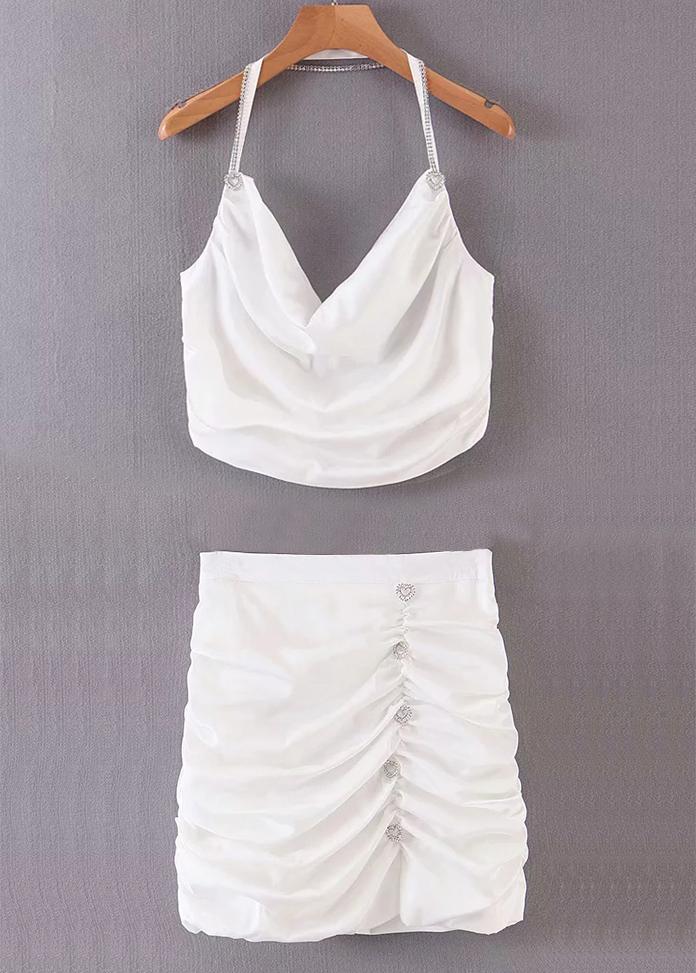 Ruffle Set ( Halter Crop Top & Skirt )