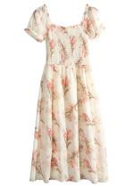 Smock Bodice Midi Dress in Cream Floral