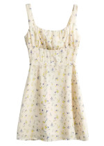 Mini Dress in Pale Yellow Floral