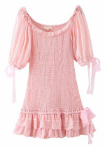 Smock Short Dress in Pink