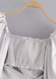Crop Blouse in Gray