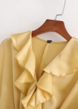 Flounce Detail Crop Blouse in Yellow