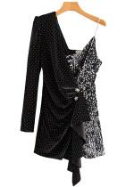 Asymmetrical Short Dress in Black