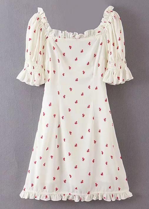 Frill Short Dress in Beige Floral