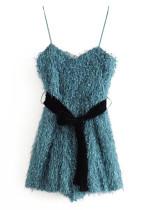 Fringed Mini Dress in Peacock