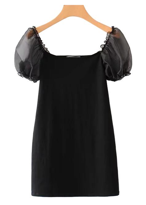 Sheer Mesh Puff Sleeve Mini Dress in Black