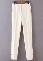 High Waist Pants in Cream