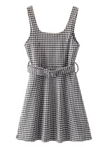 Belted Waist Short Dress in Gingham