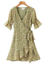Wrap Dress in Green Floral