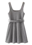 Belted Waist Short Dress in Gingham
