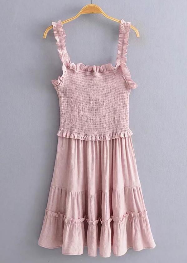 Frill Slip Dress in Blush