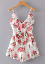 Flounce Detail Romper in White Floral
