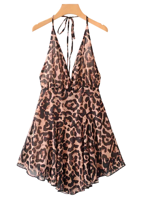 Backless Romper in Leopard