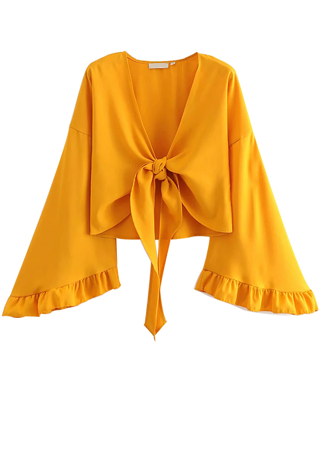 Tie Front Blouse in Yellow