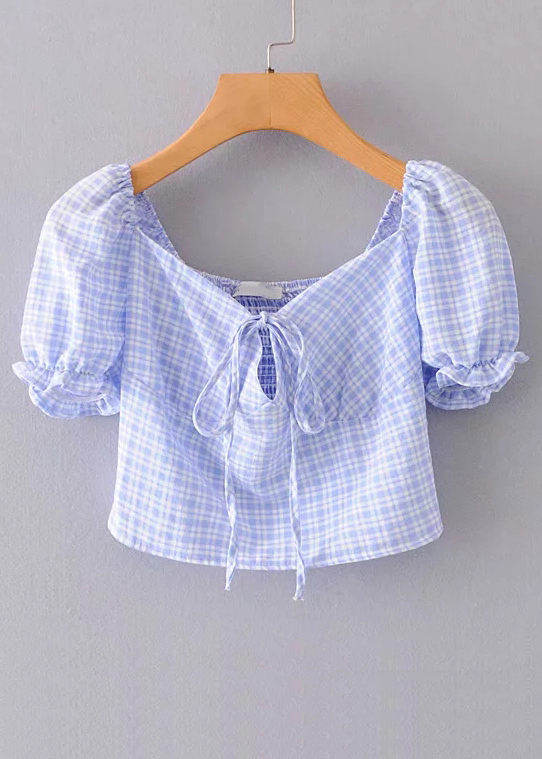 Puff Sleeves Blouse in Blue Gingham