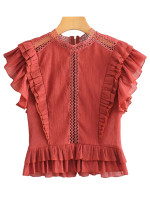 Flounce Detail Blouse in Rust