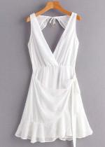 Open Back Dress in White