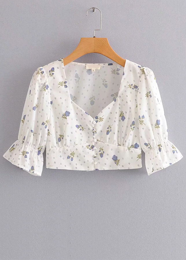 Bell Sleeve Crop Top in White Floral