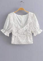 Crop Blouse in White Dot