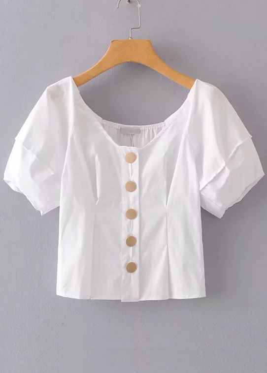 Button Front Blouse in White