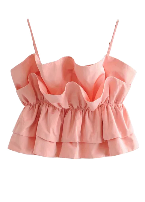 Flounce Detail Cami Top in Blush