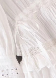 Flounce Detail Dress in White