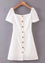 Button Front Dress in White