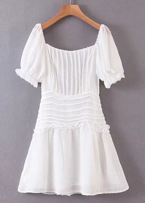 Lace-Up Back Short Dress in White
