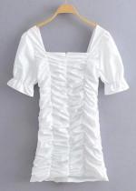 Ruffle Dress in White