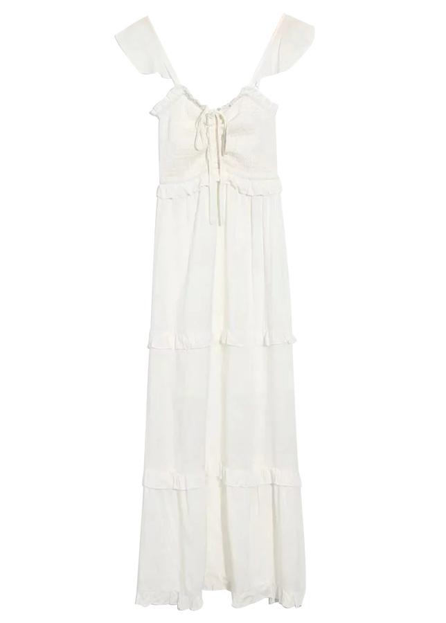 Smock Bodice Maxi Dress in White