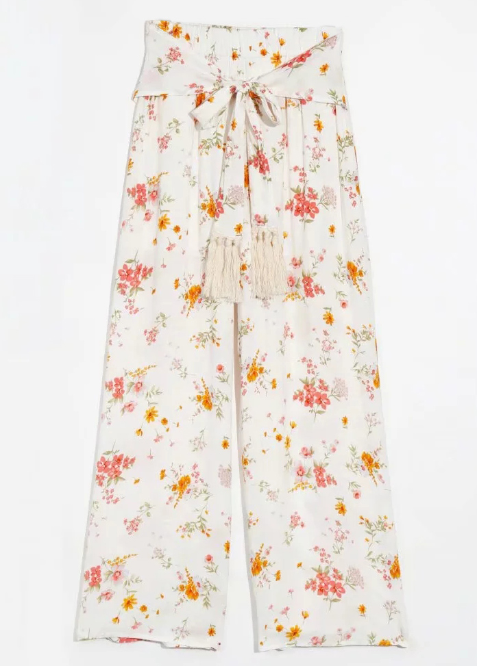 High Waist Pants in White Floral