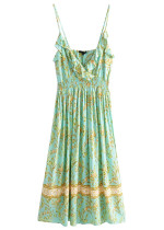Maxi Dress in Green Floral