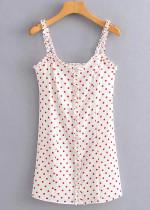 Frill Mini Dress in White Dot