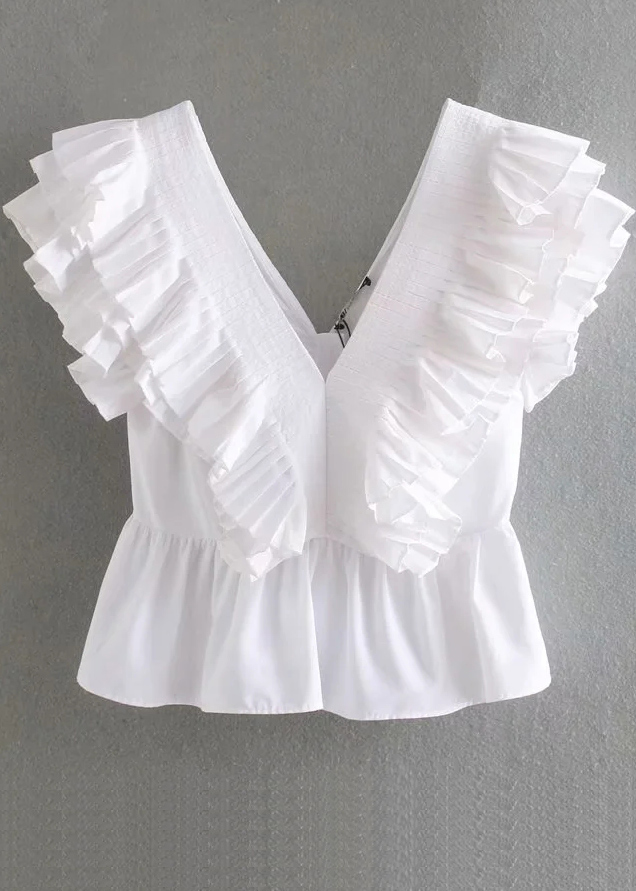Ruffle Detail Top in White