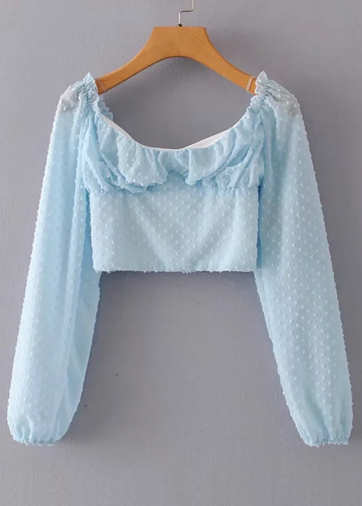 Texture Crop Blouse in Blue