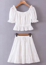 Embroidered Set in White ( Top & Skirt )