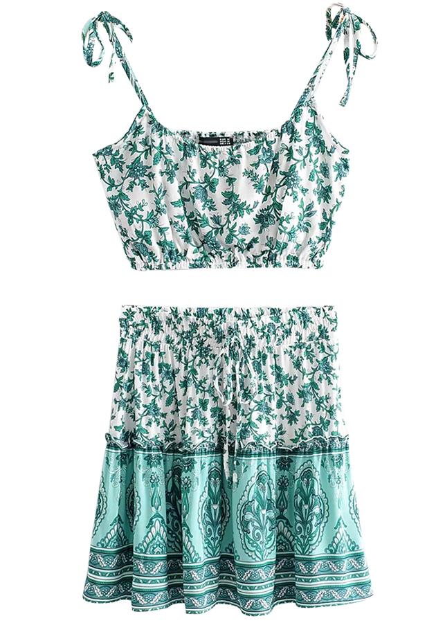 Floral Set ( Crop Top & Skirt )