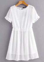 Texture Short Dress in White