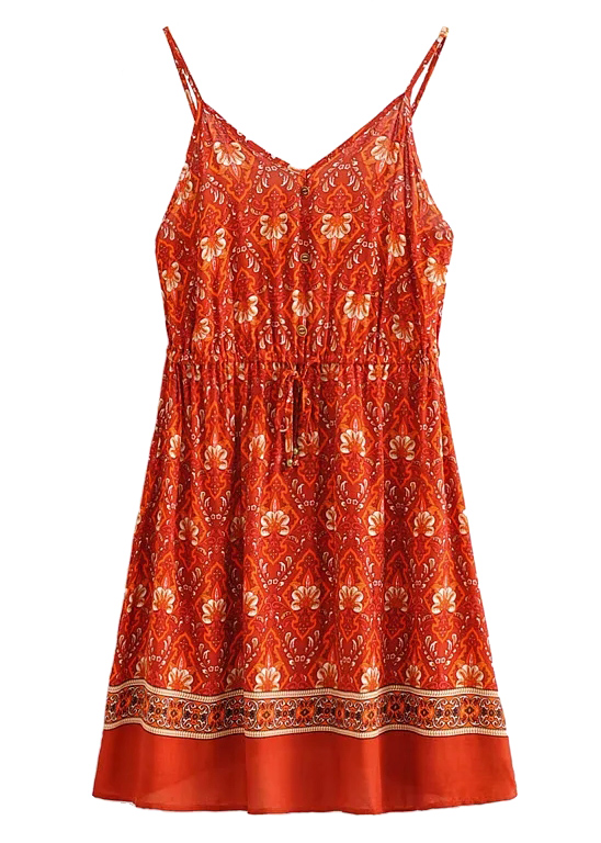 Mini Dress in Red Floral