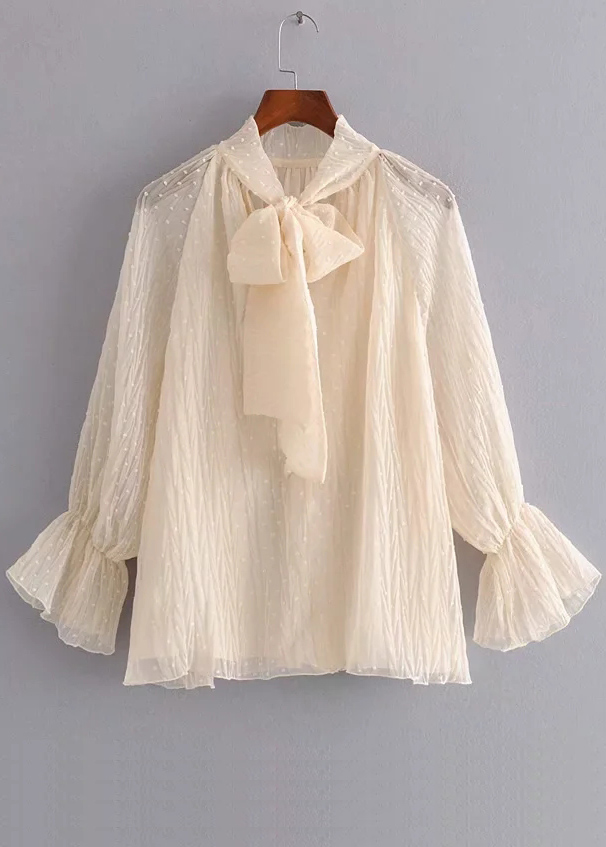 Bell Sleeve Sheer Mesh Blouse in Apricot