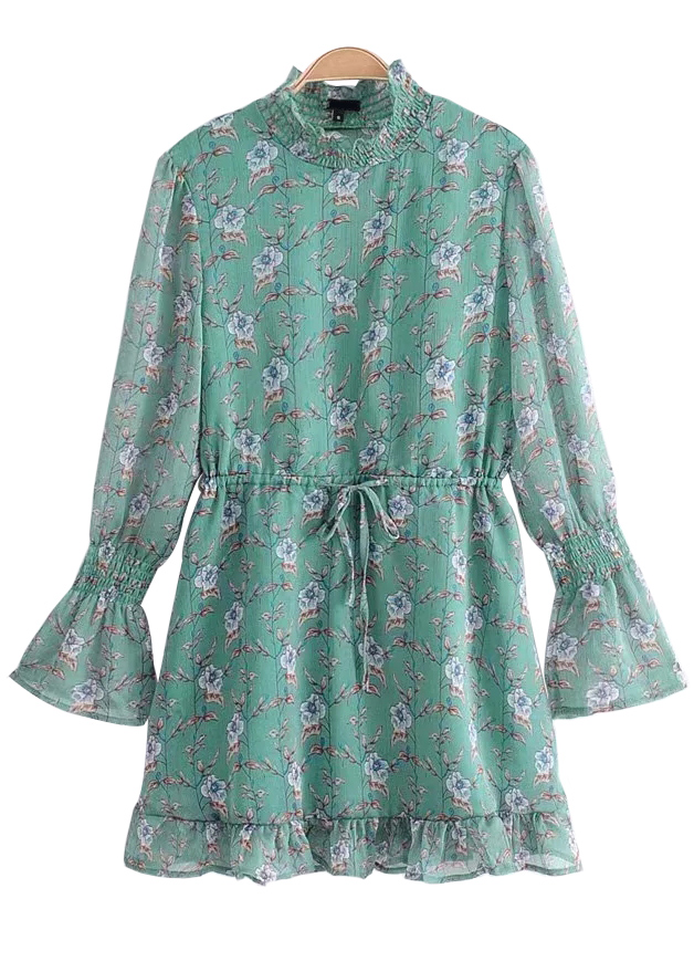 Bell Sleeve Dress in Teal Floral
