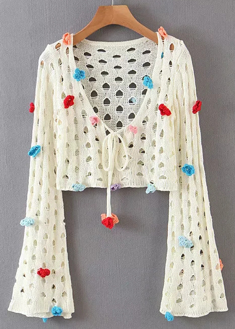 Bell Sleeve Knit Top in Cream