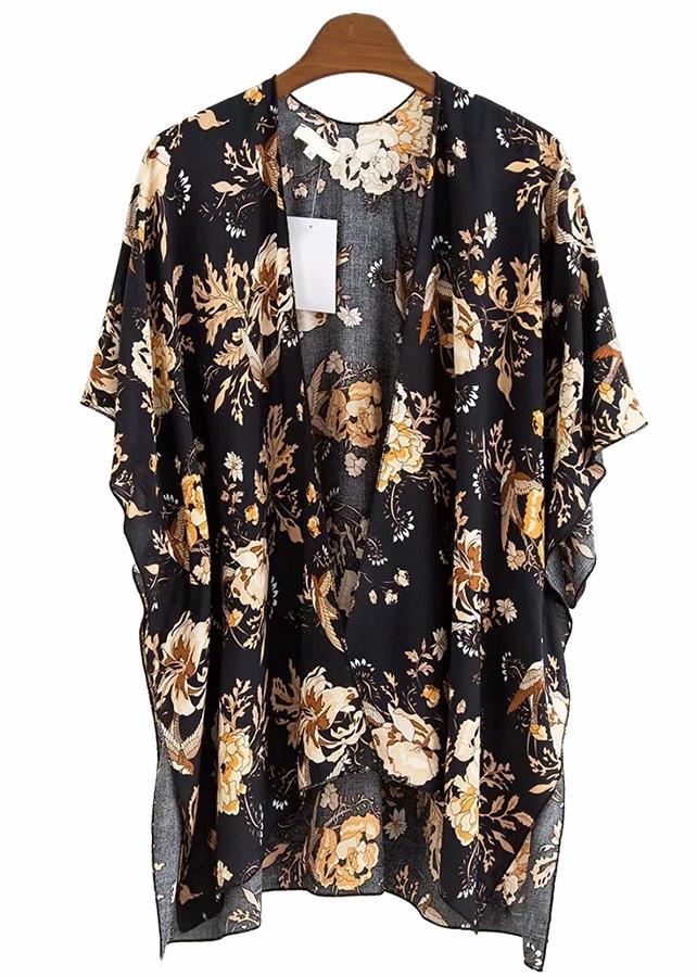 Open Front Floral Kimono