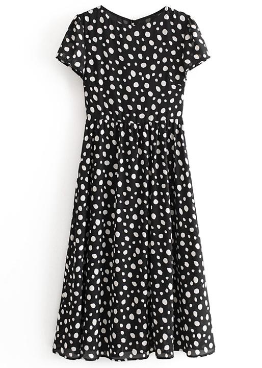 Maxi Dress in Black Spot